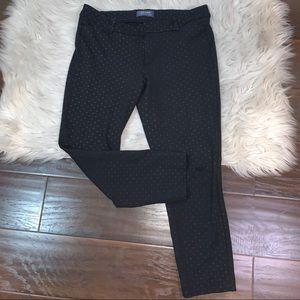 Old Navy pixie mid rise black polkadot pants sz 10